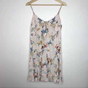 Xhilaration Pink Floral tie Babydoll swing dress